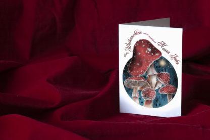 Klappkarte Merry Christmas Happy New Year • Fliegenpilze Aquarell